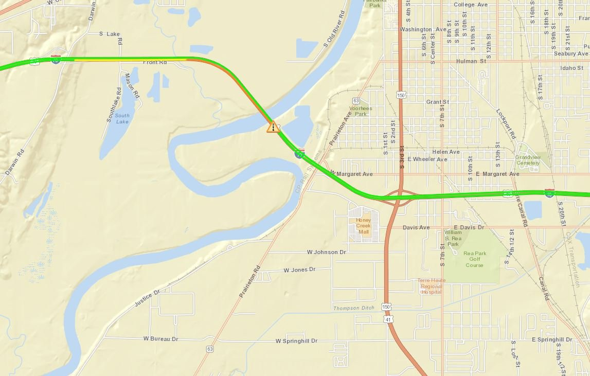 TRAFFIC EB Lane Of I Closed At MM Due To Accident WTHI News - Us map interstate 70